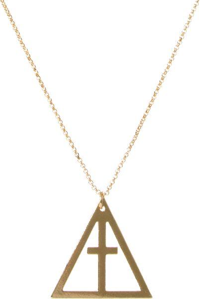 Asos Asos Geo Crucifix Pendant Necklace in Gold for Men