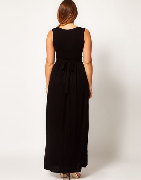Asos Curve Maxi Dress with Embellished Waist in Black