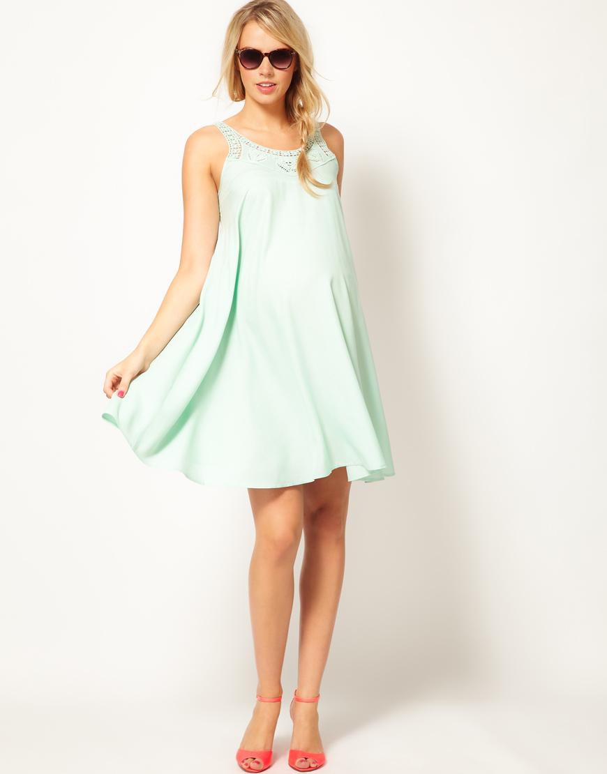 Asos swing dress with crochet neck detail in green lyst gallery womens crochet dresses ombrellifo Images