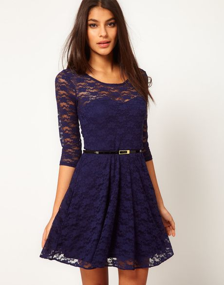 Asos Skater Dress in Lace with 3/4 Sleeve in Blue (navy)