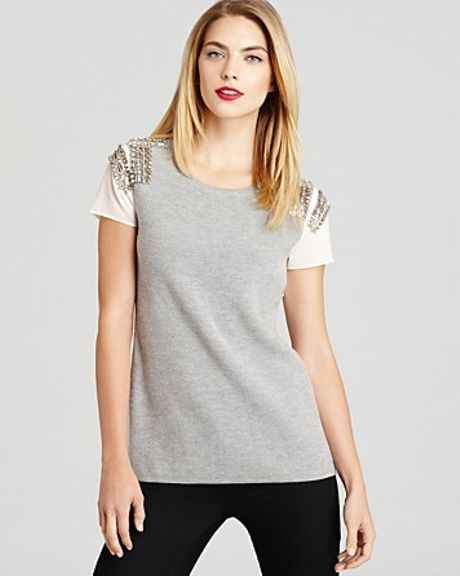 Sachin & Babi Sweater Embellished Pinnacle Short Sleeve in Beige (nude)