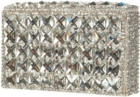 Topshop Diamante Silver Box Clutch in Silver