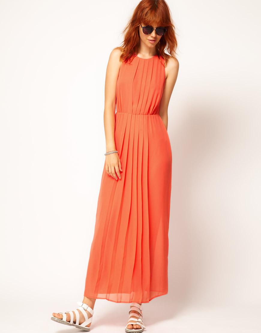 Asos Collection Asos Peplum Top In Sequin In Natural: Asos Collection Asos Maxi Dress In Orange