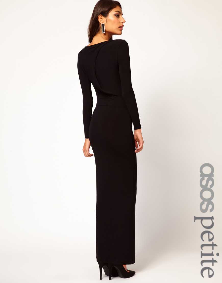 Asos Maxi Dress with Twist Back in Black | Lyst