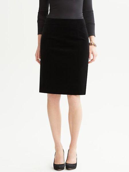 banana republic velvet pencil skirt in black lyst