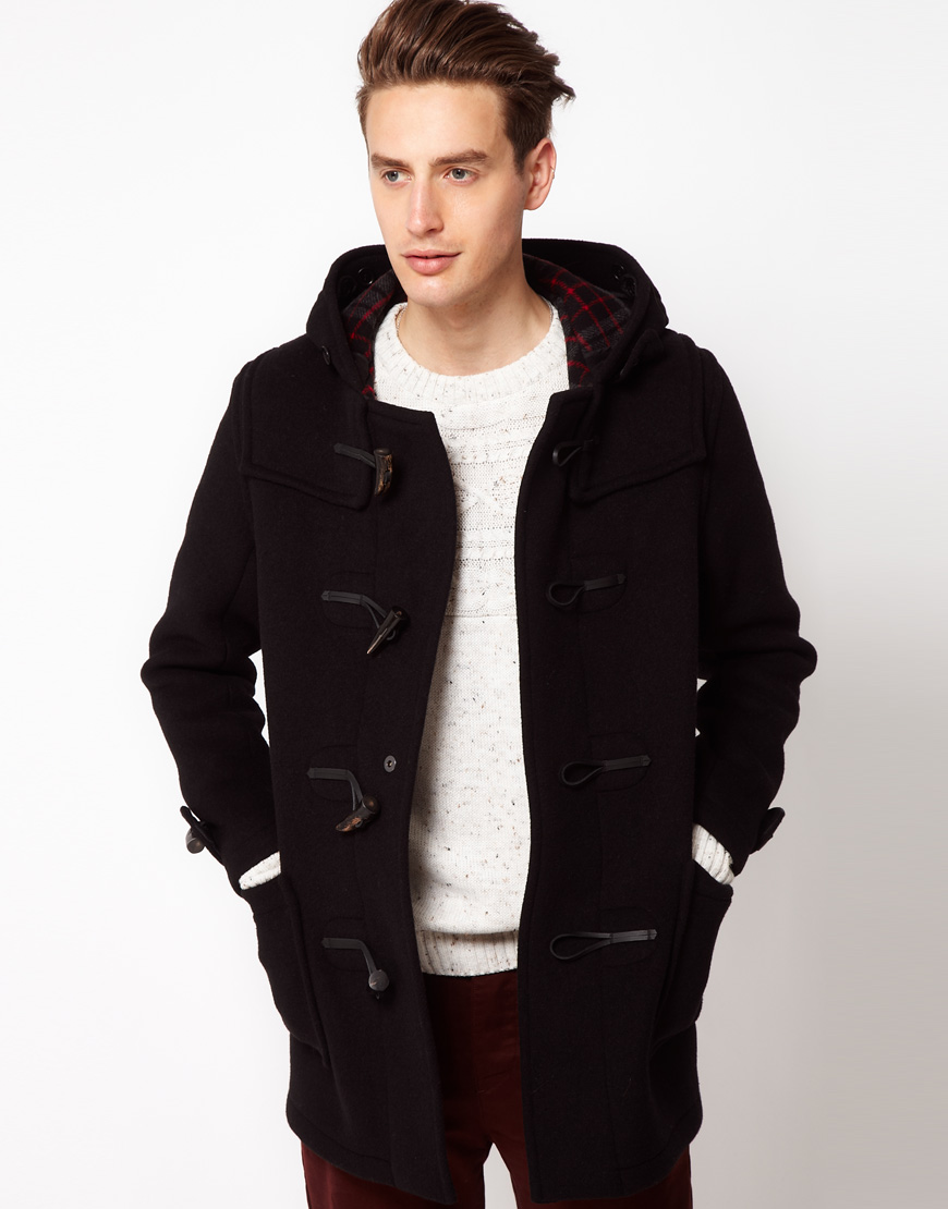 Gloverall Made in London Wool Checkback Duffle Coat in Black for