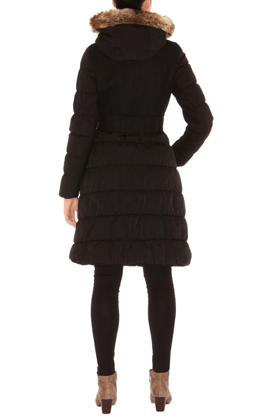 Karen millen Wool and Nylon with Fur Coat in Black   Lyst