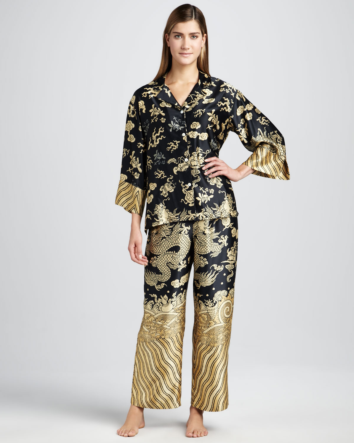 Natori Dragon Satin Pajamas in Metallic | Lyst