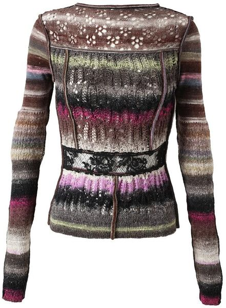 Nina Ricci Contrasting Crocheted Mohair and Wool Knit in Multicolor (multi)
