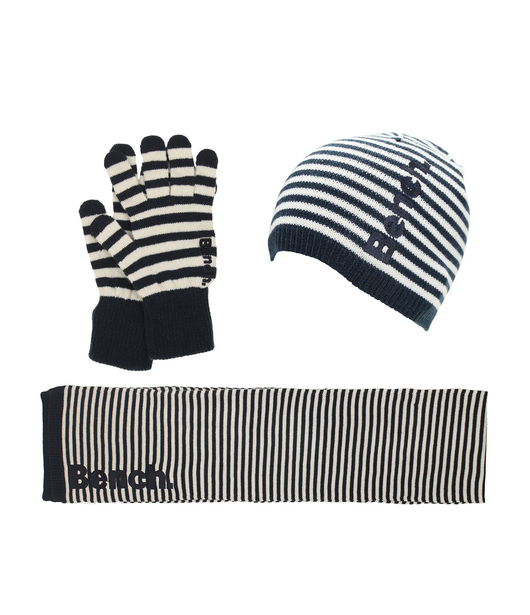 bench womens klaudia hat scarf and glove gift set in black