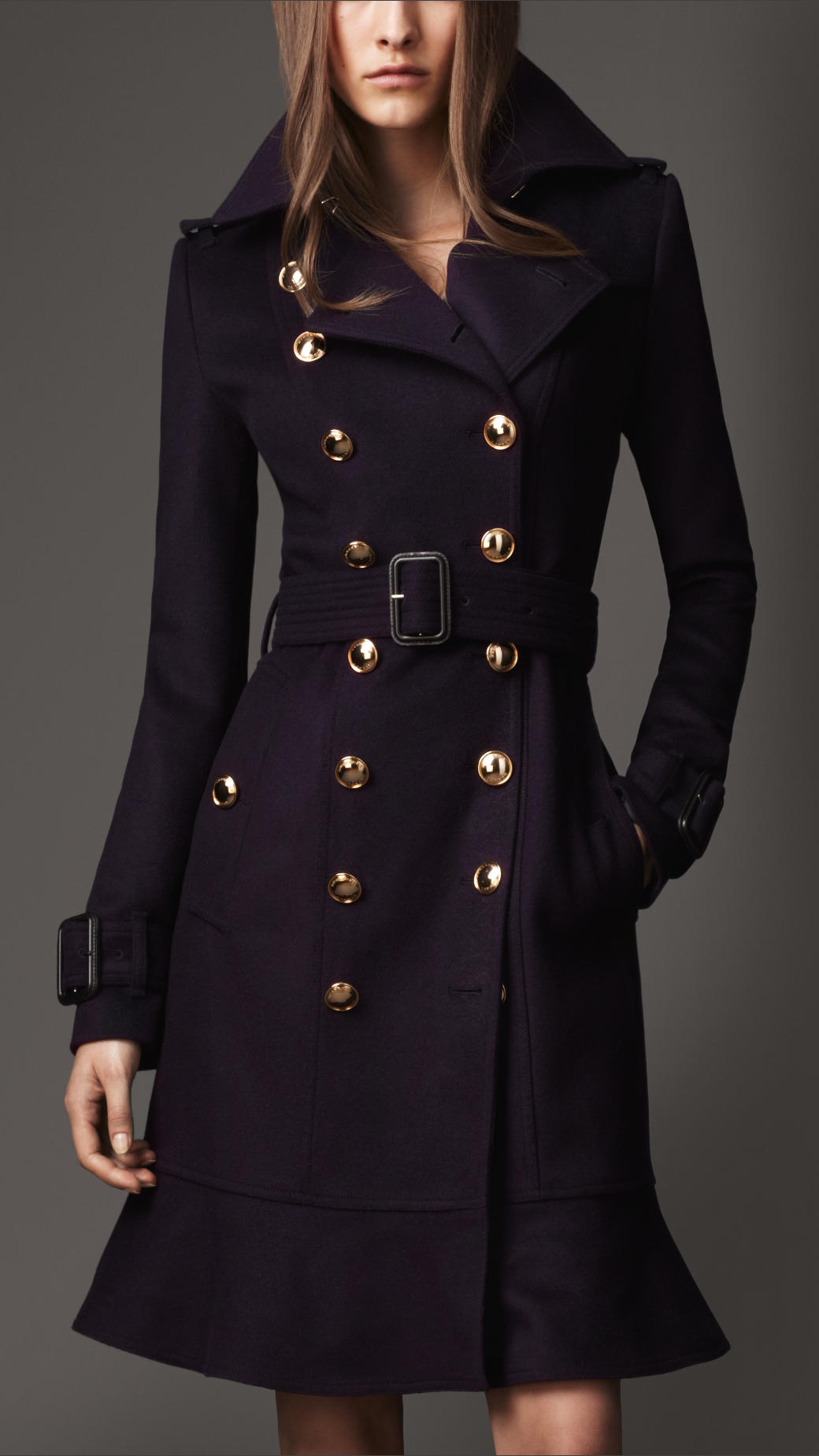 lyst burberry long frill detail trench coat in blue. Black Bedroom Furniture Sets. Home Design Ideas