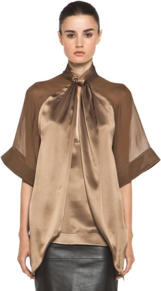 Givenchy Satin Tie Neck Blouse in Multi - Lyst