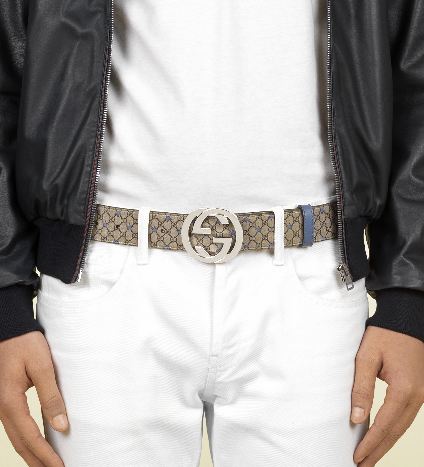 bea78c084 Gucci Gg Supreme Canvas Belt with Interlocking G Buckle in Natural ...