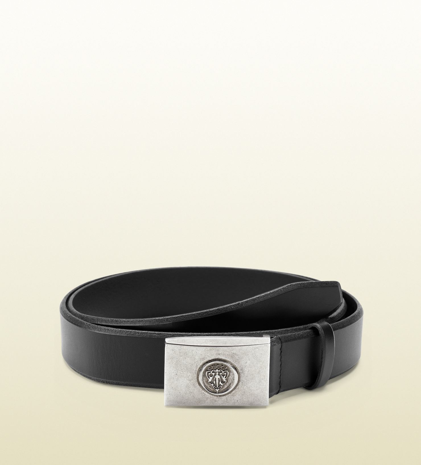 7be154732 Lyst - Gucci Black Leather Belt with Crest Buckle in Black for Men