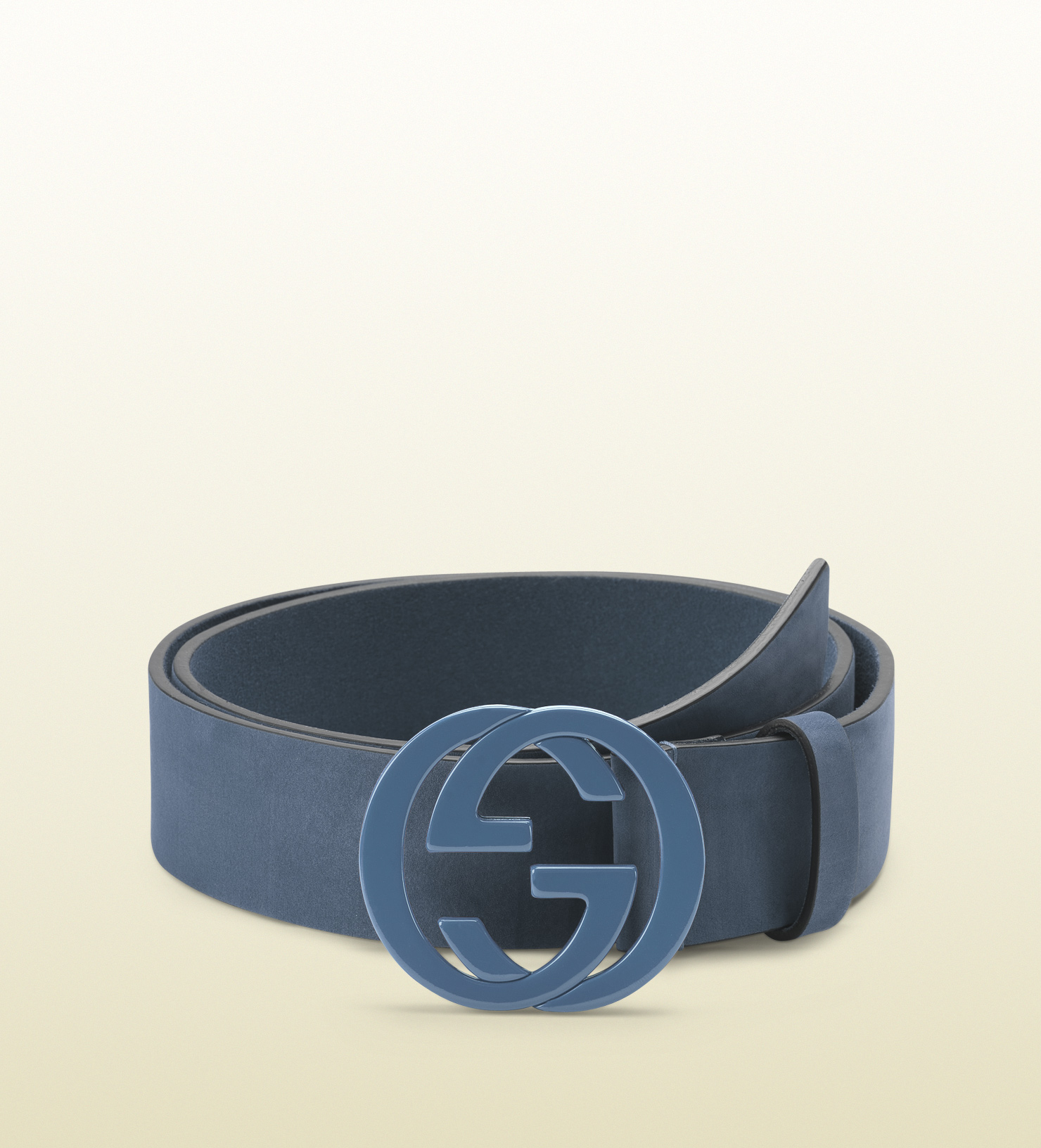 7665053e7e152 Lyst - Gucci Sky Blue Leather Belt with Interlocking G Buckle in ...
