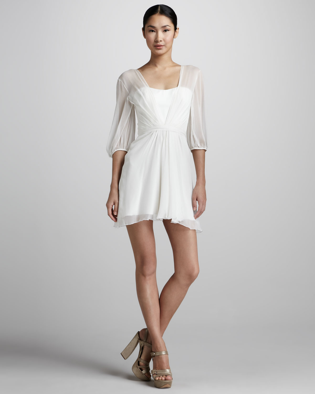 Lyst - Pamella Roland Sheer Chiffon Cocktail Dress in White