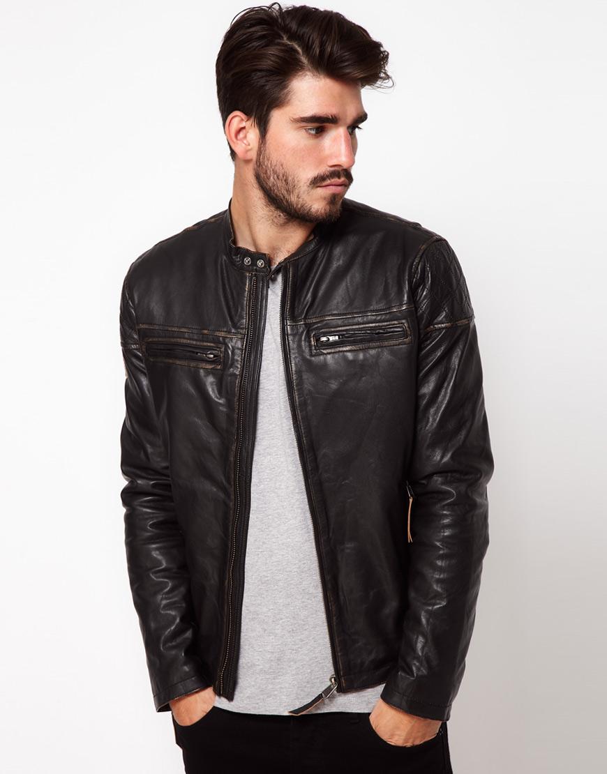 lyst pepe jeans pepe leather biker jacket in black for men. Black Bedroom Furniture Sets. Home Design Ideas
