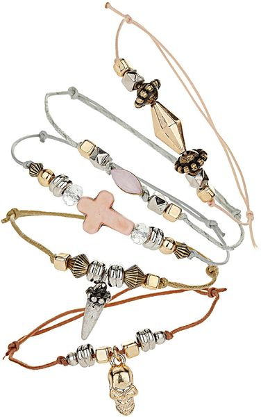 Topshop Skull Cross Bracelet Pack in Beige