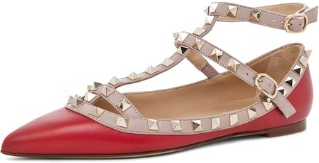 Valentino Rockstud Ballerina in Red in Red