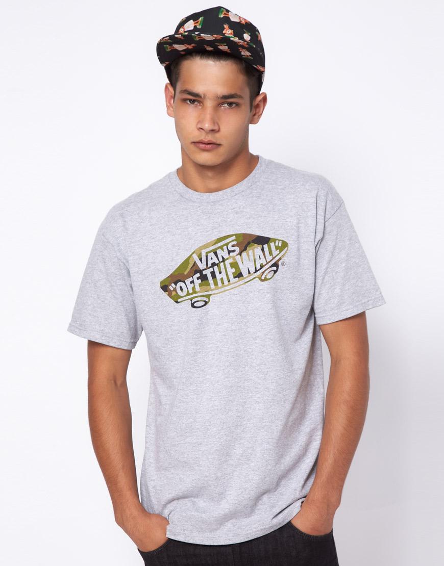 3d0446cbaa Lyst - Vans Tshirt Camo Off The Wall Logo Print in Gray for Men