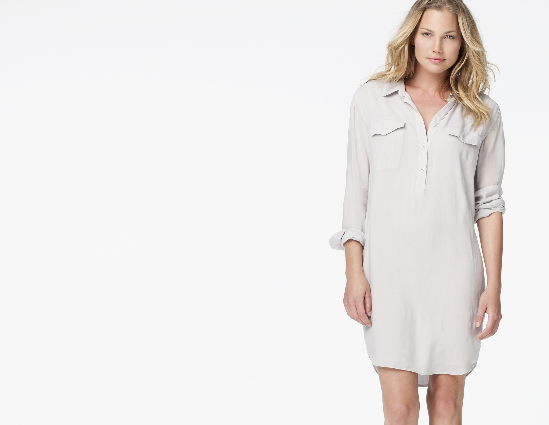 James perse easy henley shirt dress in gray pearl grey for James perse henley shirt