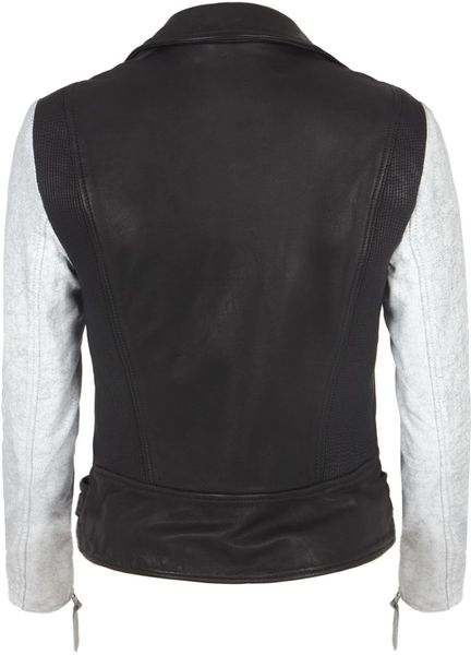 Allsaints Albany Biker Jacket in White (black/white) - Lyst