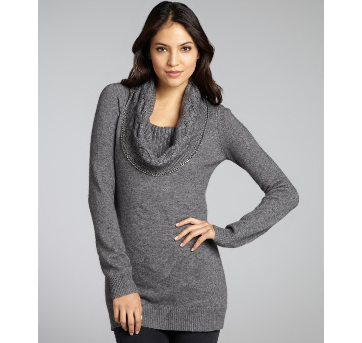 Autumn cashmere Grey Cashmere Blend Chain Detail Cowl Neck Tunic ...