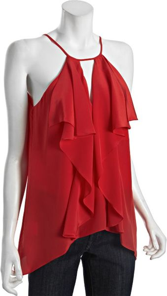 Bcbgmaxazria Red Berry Silk Claudia Cascading Ruffle Blouse in Red (red berry) - Lyst
