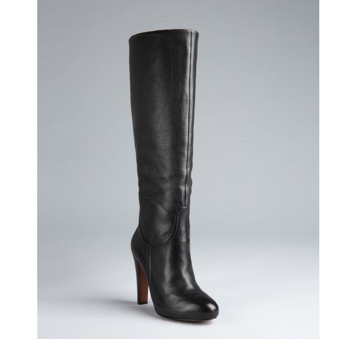 elie tahari black leather ramsy boots in black lyst