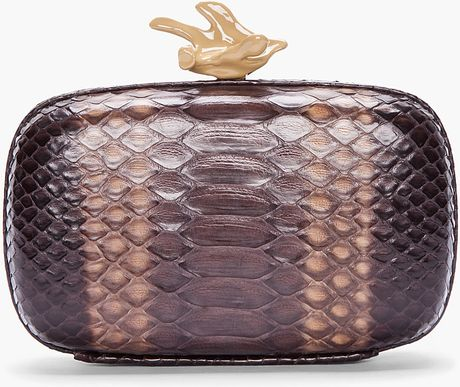 Givenchy Brown Python Leather Box Clutch in Brown