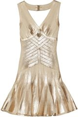 Hervé Léger Metalliccoated Bandage Flared Dress