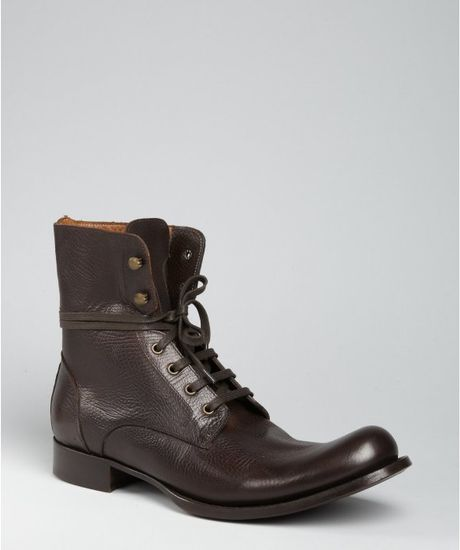 varvatos brown leather combat boots in brown for