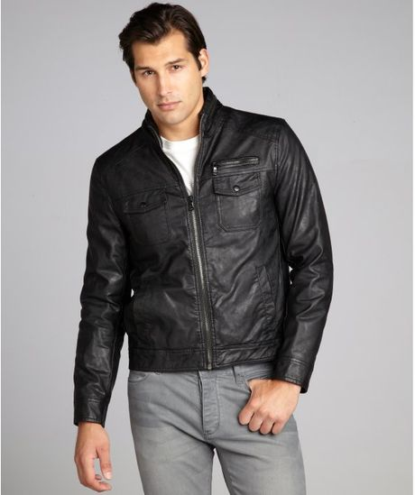 Kenneth Cole Reaction Black Faux Leather Zip Front Jacket in Black for