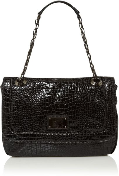 Kenneth Cole Reaction Mercer Street Croc Chain Shoulder Bag in Black