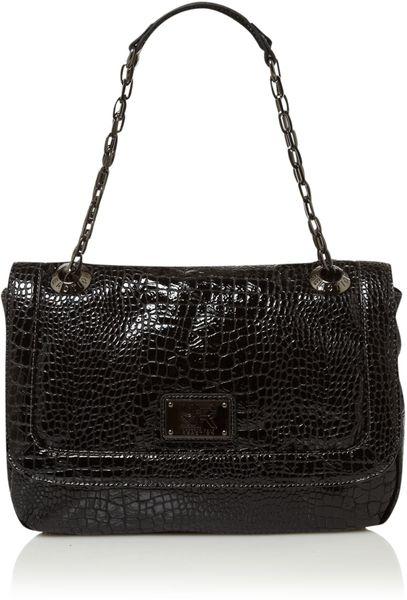 Kenneth Cole Reaction Mercer Street Croc Chain Shoulder Bag in Black