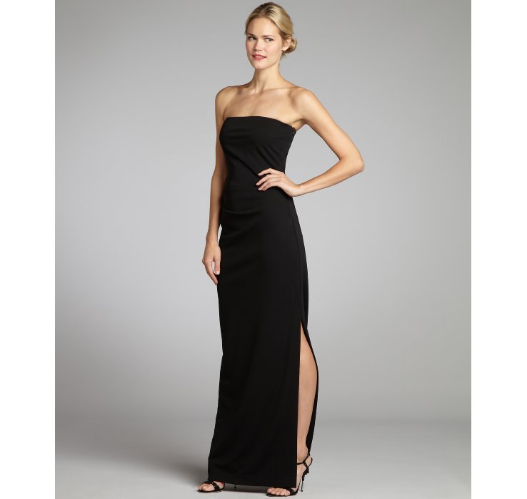 Lyst - Nicole Miller Stretch Jersey Woven Side Slit Strapless Gown ...