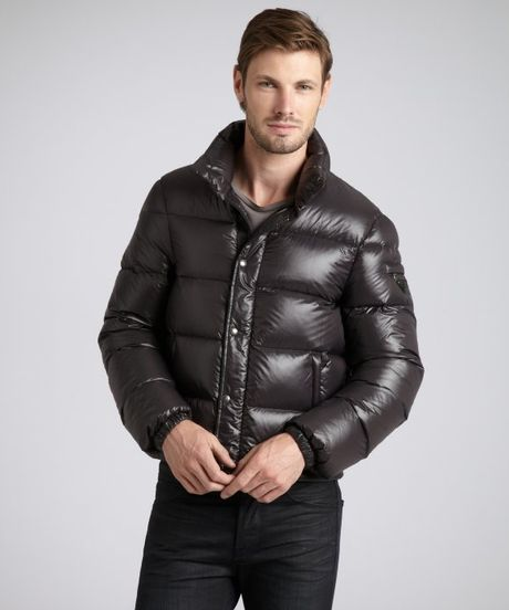 Prada Quilted Nylon Cropped Down Fill Coat In Black For