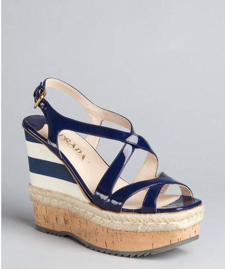 prada patent leather striped wedge sandals in blue royal