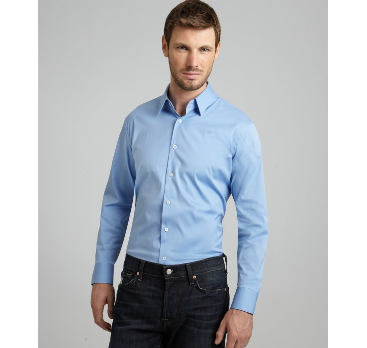 prada sky stretch cotton point collar dress shirt in blue