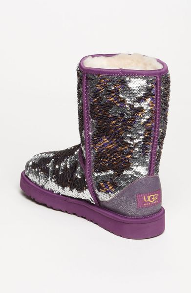 Ugg classic short sparkle boot in purple purple gold lyst