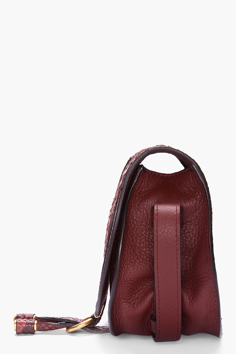 Lyst Chlo 233 Burgundy Python Leather Marcie Bag In Red
