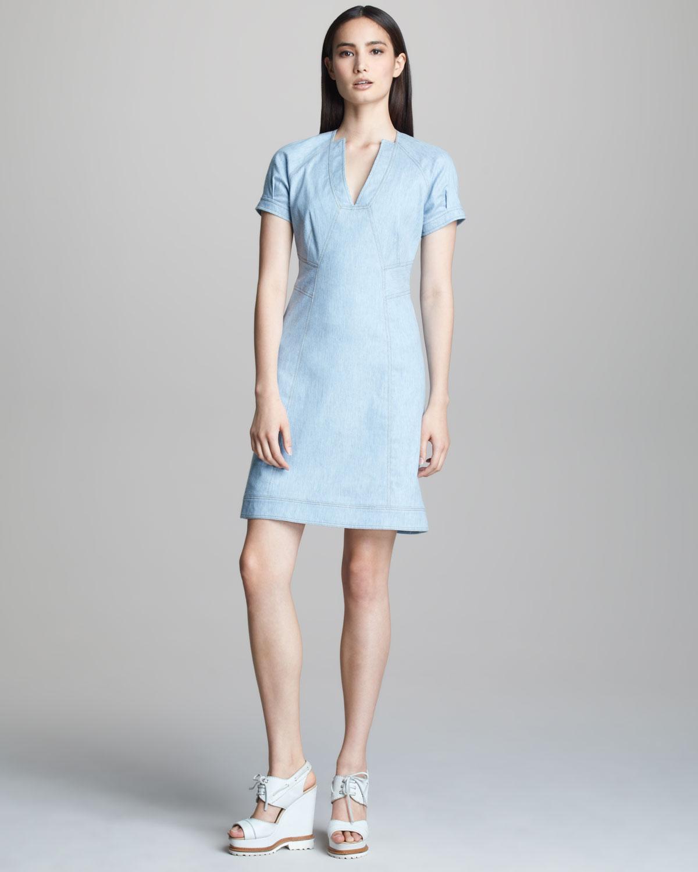 Derek Lam Aline Denim Dress in Blue (PALE DENIM) | Lyst