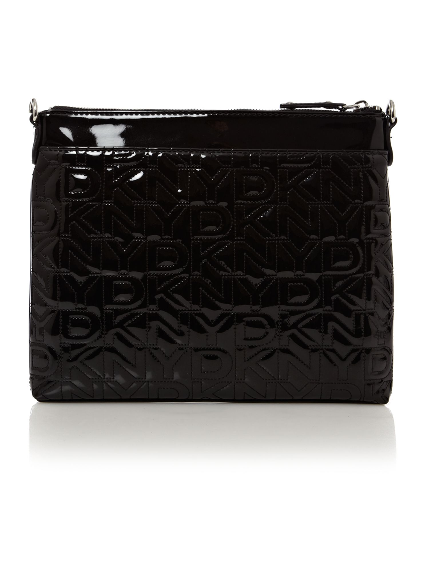 lyst dkny quilted logo crossbody bag in black