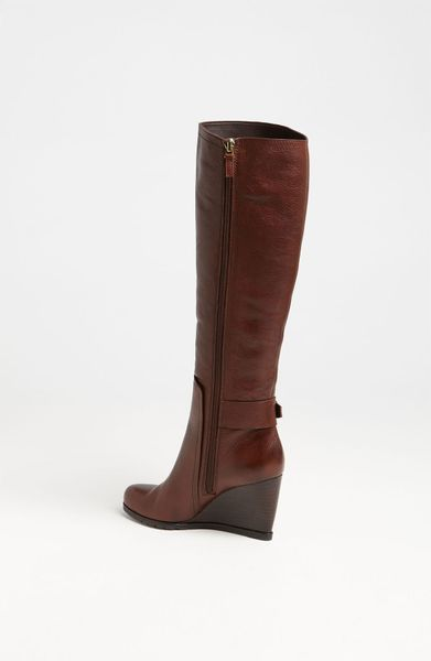 franco sarto navarro wedge boot in brown roasted chestnut