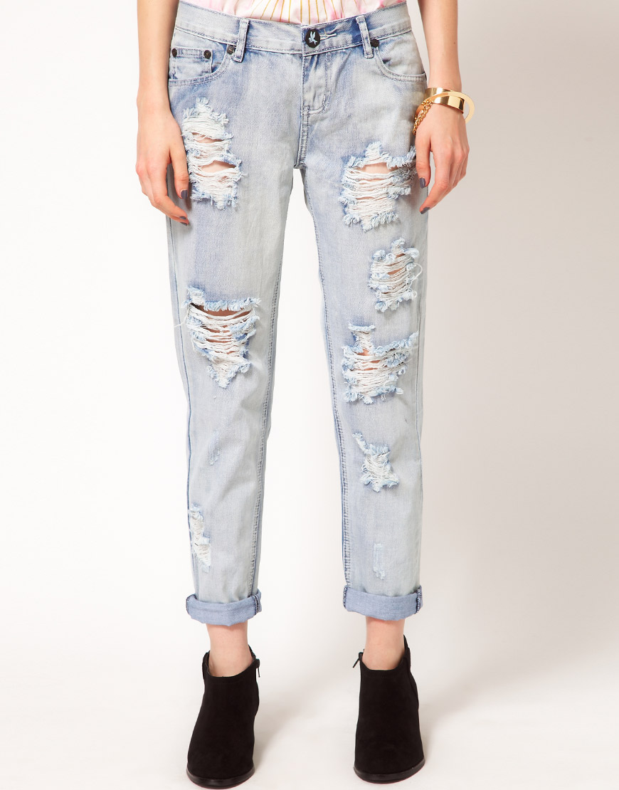 one teaspoon awesome baggy jeans in fiasco distressed wash in blue fiasco lyst. Black Bedroom Furniture Sets. Home Design Ideas