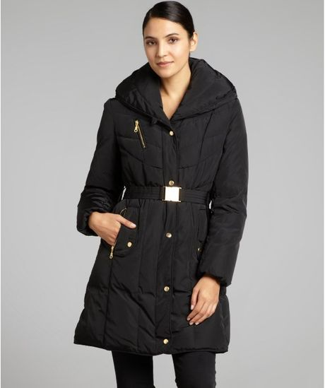 Cole Haan Black Quilted Belted Down Coat In Black Lyst