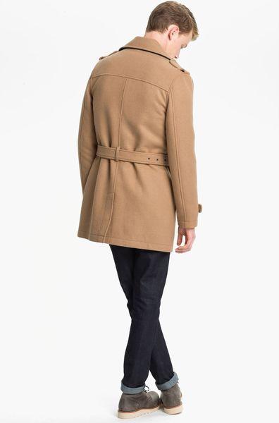 Topman Double Breasted Trench Coat In Beige For Men Camel