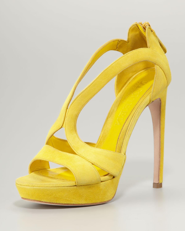 fdf8513a7 Lyst - Alexander McQueen Suede Cutout Platform Sandal Yellow in Yellow