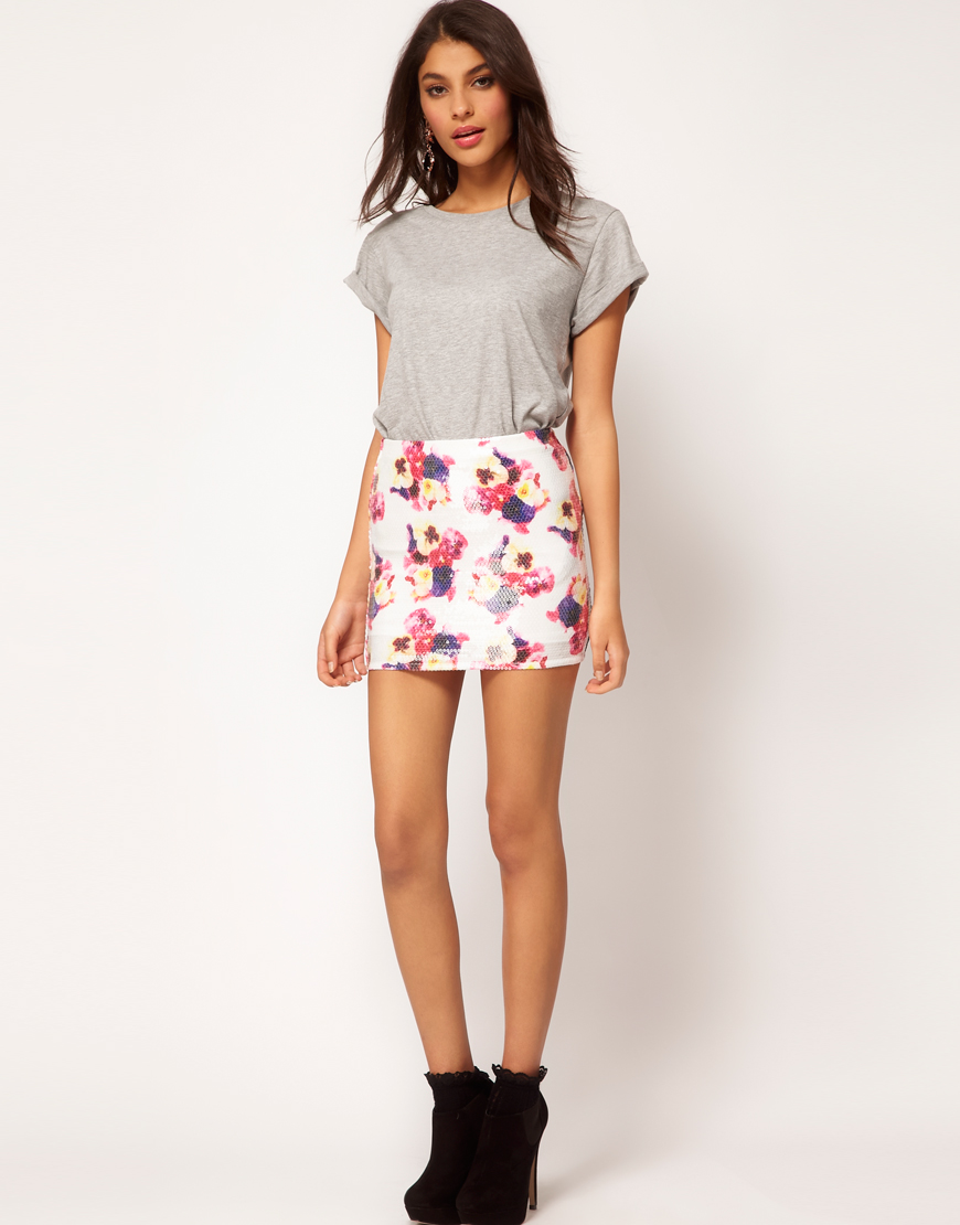 Asos collection Asos Mini Skirt in Floral Sequin | Lyst