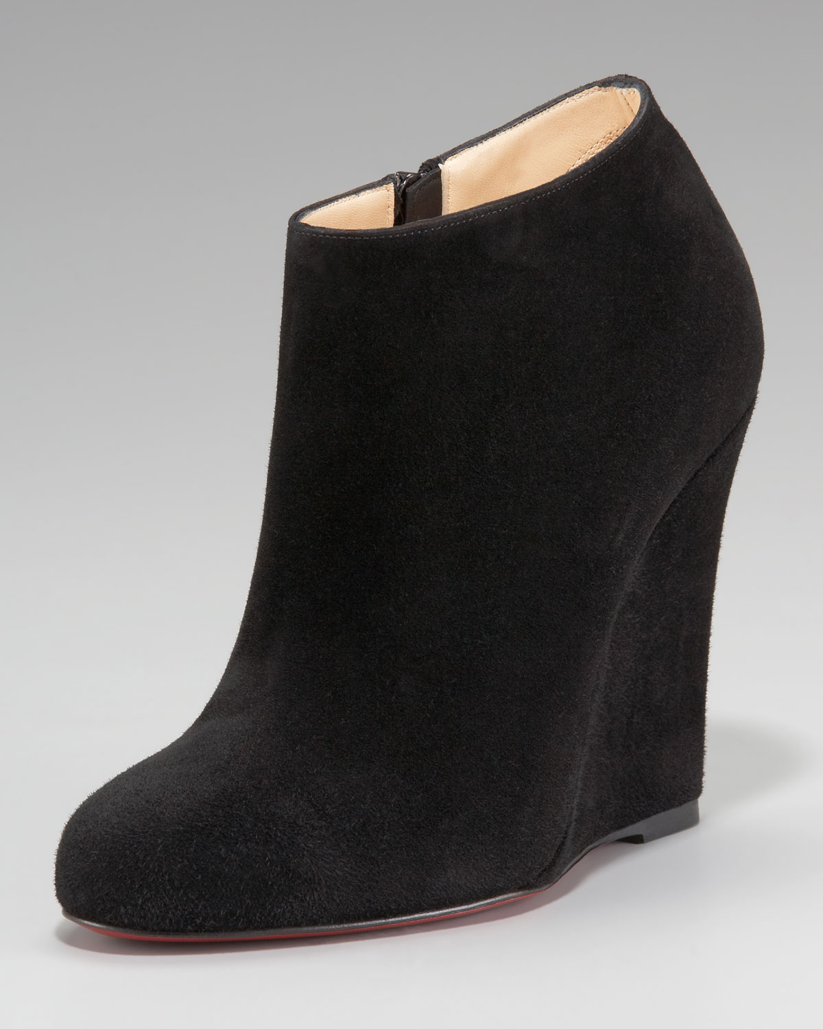 christian louboutin zeppa suede wedge bootie in